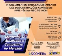 Curso 11/Dezembro: Procedimentos para Encerramento das Demonstrações Contábeis (PME – ênfase NBC TG 1000) – Vale 7 pontos EPC