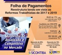 Curso 10/Março: Folha de Pagamentos – Reestrutura tendo em vistas as Reformas Trabalhistas de 2017 e 2019