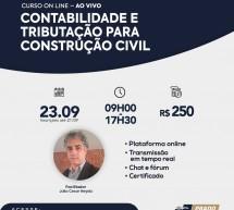 Curso 23 de Setembro com desconto: CONTABILIDADE E TRIBUTAÇÃO PARA CONSTRUÇÃO CIVIL