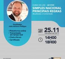 Curso on-line 25 de novembro AO VIVO: SIMPLES NACIONAL – PRINCIPAIS REGRAS